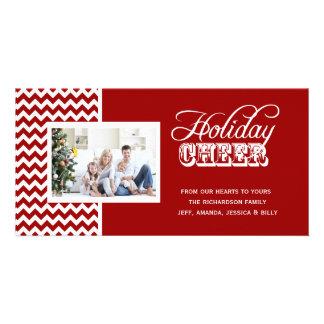 Cartes photos rouges d acclamation de vacances de cartes de vœux avec photo
