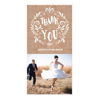 Cartes photos rustiques de Merci de mariage Cartes Avec Photo