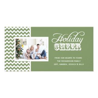 Cartes photos verts d'acclamation de vacances de C Photocarte Customisée