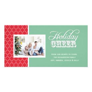 Cartes photos verts rouges d'acclamation de vacanc cartes de vœux avec photo