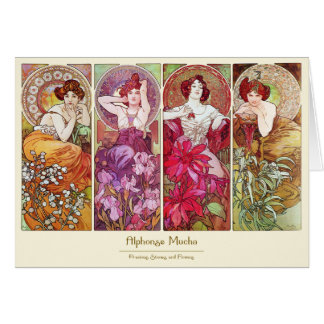 Cartes Pierres précieuses et fleurs, Alphonse Mucha