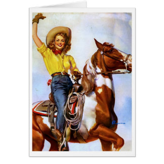 Cartes Pin de cavalier de cow-girl