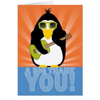 Cartes Pingouin de Rockin avec le Merci de guitare