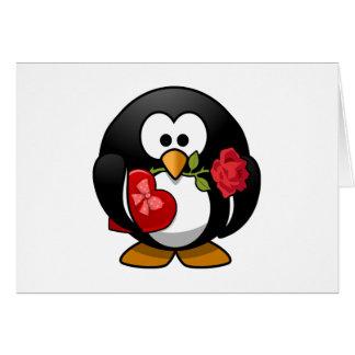 Cartes Pingouin frappé par amour avec des cadeaux de