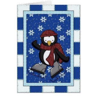 Cartes Pingouin sur des patins de glace