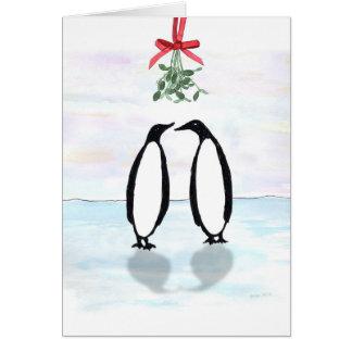 Cartes Pingouins d'aquarelle avec le gui de vacances