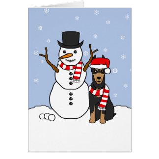 Cartes Pinscher et bonhomme de neige de dobermann