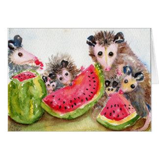 Cartes Pique-nique de famille d'opossum