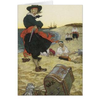 Cartes Pirates vintages, William Kidd enterrant le trésor