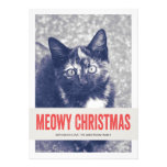 Cartes plates de Meowy de Noël de photo mignonne r Faire-parts