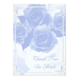 Cartes plates de Merci assez bleu de rose Invitations