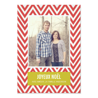 Cartes plates de photo de Joyeux Noël de Chevron Carton D'invitation 12,7 Cm X 17,78 Cm