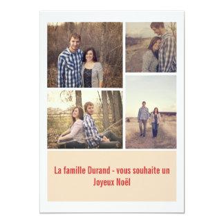 Cartes plates de photo moderne crème de Noël Carton D'invitation 12,7 Cm X 17,78 Cm