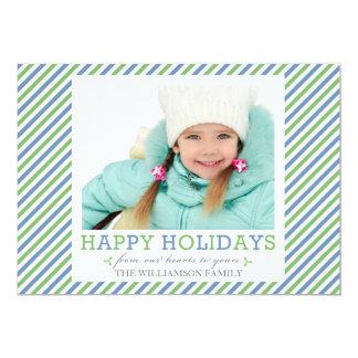Cartes plates de rayure de vert bleu de vacances carton d'invitation  12,7 cm x 17,78 cm