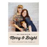 Cartes plates noires de joyeuse et lumineuse photo cartons d'invitation