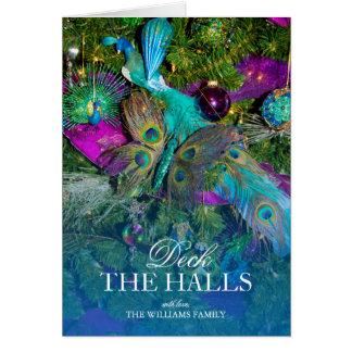 Cartes Plume de paon et décorations colorées d'arbre