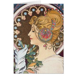 Cartes Plume par Alphonse Mucha - art vintage Nouveau