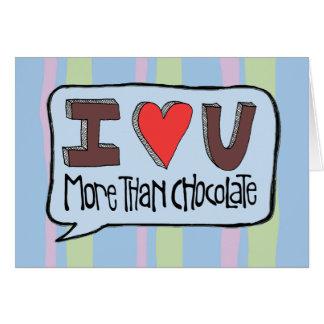 Cartes Plus que le chocolat avec des rayures Valentine