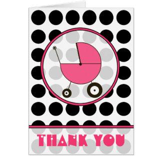 Cartes Point de polka noir/Merci rose de voiture d'enfant