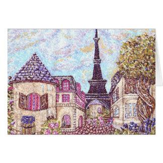 Cartes Pointillism de paysage urbain de Paris avec Tour