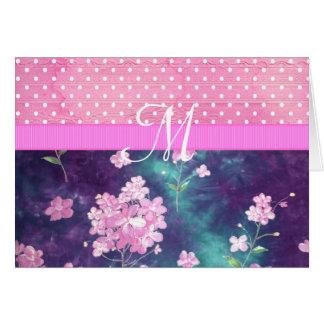 Cartes Pois floral de batik rose à la mode de monogramme