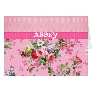 Cartes Pois floral vintage de monogramme rose à la mode