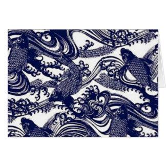 Cartes Poissons bleus de Koi de tatouage de Japonais de