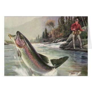 Cartes Poissons vintages de truite arc-en-ciel, pêche de
