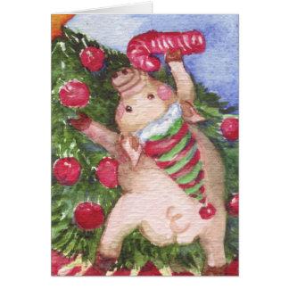 Cartes Porc avec un arbre de Noël admiratif de sucre de