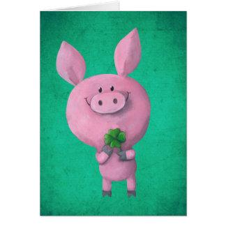 Cartes Porc chanceux avec le trèfle chanceux de quatre