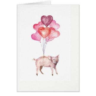 Cartes Porc Supercute d'aquarelle avec des ballons de