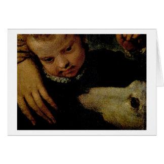 Cartes Portrait d'une femme avec un enfant et un chien,