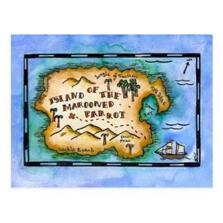 Cartes postales abandonnées de carte de trésor de