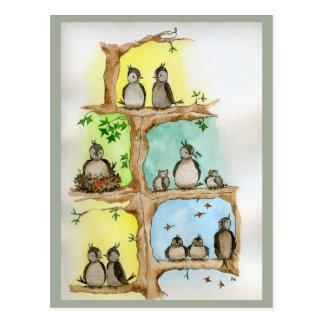 Cartes postales avec des oiseaux et leurs bébés