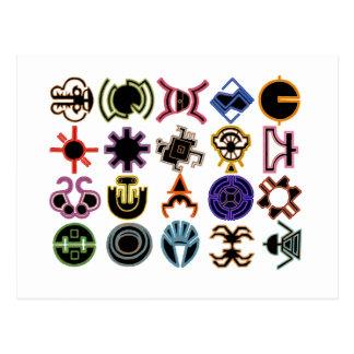 Cartes postales cosmiques futuristes de runes