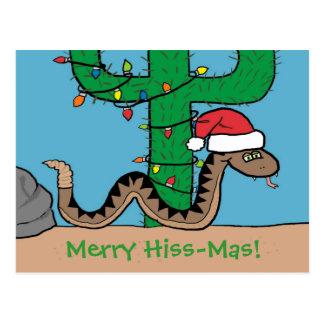 Cartes postales de cactus de Noël de serpent à