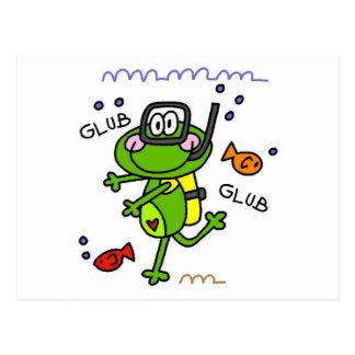 Cartes postales de garçon de Froggie de plongée à