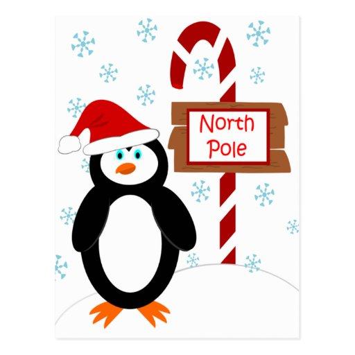 cartes postales de no l de p le nord de pingouin d zazzle. Black Bedroom Furniture Sets. Home Design Ideas