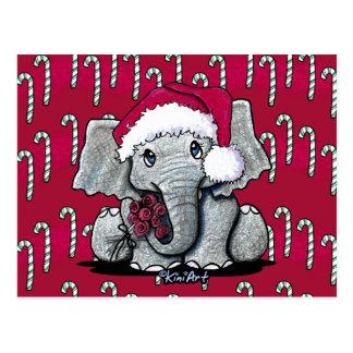 Cartes postales de Noël d'éléphant de Père Noël