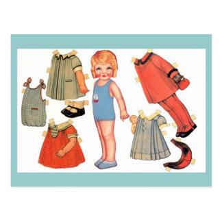 Cartes postales de poupée de papier de petite