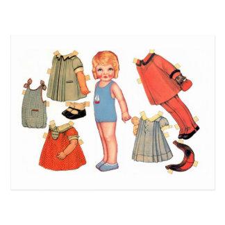 Cartes postales de poupée de papier de petite fill