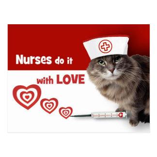 Cartes postales drôles d'infirmière de chaton