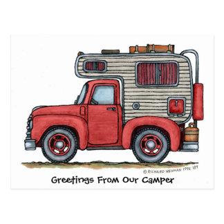 Cartes postales du campeur rv de camion pick-up