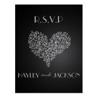 """cartes postales grises de rsvp de mariage """"avec"""