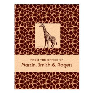 Cartes postales personnalisées par copie de girafe