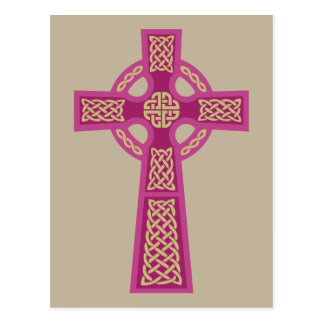 Cartes postales roses de croix celtique