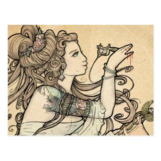 Cartes postales tatouées de déesse