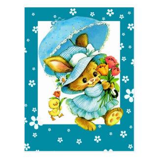 Cartes postales vintages de lapin et de poussin de