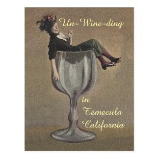 cartes postales vintages en verre de gallon de vin