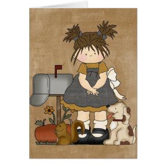 Cartes Poupée Girly adorable de pays